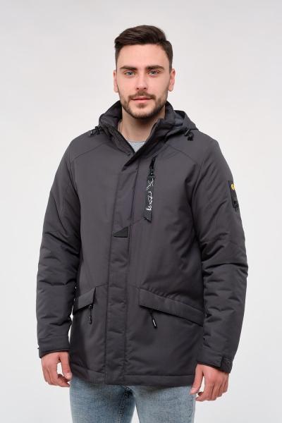Чоловіча куртка середньої довжини з капюшоном. Колір сірий.