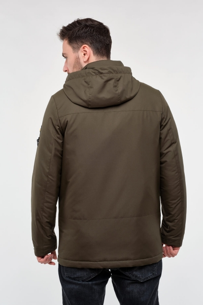 Чоловіча куртка середньої довжини з капюшоном. Колір хакі.