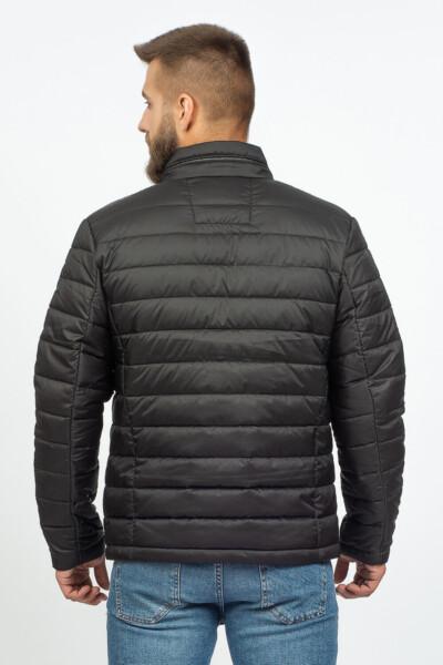 Демісезонна чоловіча куртка на кожен день, чорного кольору, з прихований дощовим капюшон.