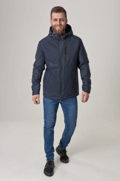 Чоловіча куртка з капюшоном, тканина з вітрозахистом рипстоп. Синій.