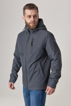 Чоловіча куртка з капюшоном, тканина з вітрозахистом рипстоп. Сірий.