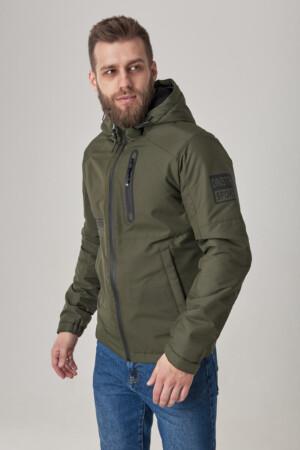 Чоловіча куртка з капюшоном, тканина з вітрозахистом рипстоп. Хакі.