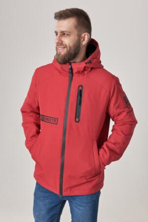 Чоловіча куртка з капюшоном, тканина з вітрозахистом рипстоп. Червоний.